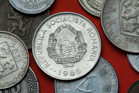 leu: Coins of Communist Romania. Coat of arms of the Socialist Republic of Romania depicted in the Romanian one leu coin (1966).