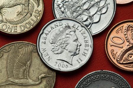 queen elizabeth ii: Coins of New Zealand. Queen Elizabeth II depicted in the New Zealand two dollars coin. Editorial
