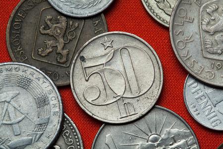 coined: Coins of Czechoslovakia. Czechoslovak 50 haler coin coined in the Czechoslovak Socialist Republic. Stock Photo