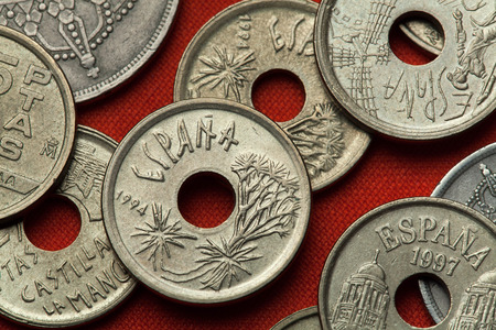 Coins of Spain. Canary Islands dragon tree (Dracaena draco) depicted in the Spanish 25 peseta coin (1994).