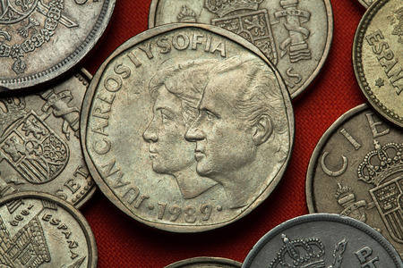 spanish: Coins of Spain. King Juan Carlos I and Queen Sofia of Spain depicted in the Spanish 500 peseta coin (1989).