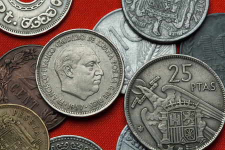 depicted: Coins of Spain under Franco. Spanish dictator Francisco Franco depicted in the Spanish five peseta coin (1957).