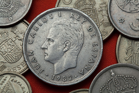 Coins of Spain. King Juan Carlos I of Spain depicted in the Spanish 50 peseta coin (1982). Stock Photo