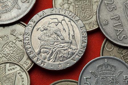 Coins of Spain. Spanish commemorative 200 peseta coin (1996) dedicated to Spanish Neoclassicist painter Ramon Bayeu. Stock Photo