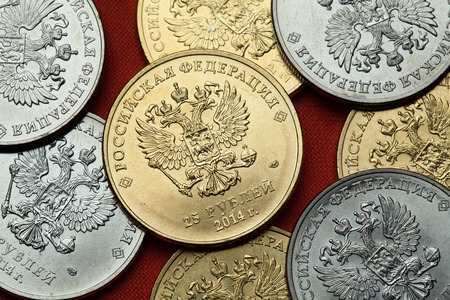 doubleheaded: Coins of Russia. Russian double-headed eagle depicted in the Russian commemorative 25 ruble coins.