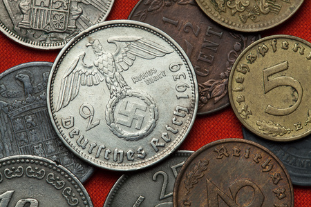 numismatic: Coins of Nazi Germany. Nazi eagle atop swastika depicted in the German two Reichsmark coin (1939).