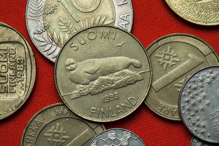 Coins of Finland. Saimaa ringed seal (Pusa hispida saimensis) depicted in the Finnish five markka coin (1993).