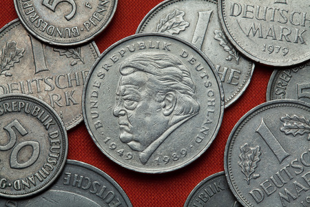 german mark: Coins of Germany. German politician Franz Josef Strauss depicted in the German two Deutsche Mark coin (1989).