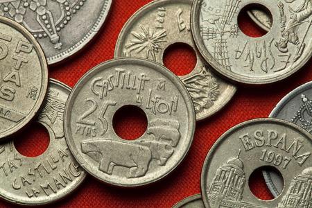 castile and leon: Coins of Spain. Bulls of Guisando in Avila, Castile and Leon, Spain depicted in the Spanish 25 peseta coin (1995). Stock Photo