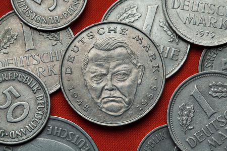 german mark: Coins of Germany. German politician Ludwig Erhard depicted in the German two Deutsche Mark coin (1988).