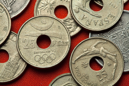 summer olympics: BARCELONA, SPAIN - MARCH 2, 2016: Logo for the Barcelona 1992 Summer Olympics depicted in the Spanish 25 peseta coin.