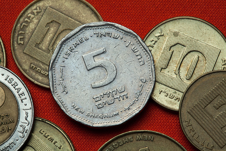 sheqel: Coins of Israel. Israeli five new shekels coin.