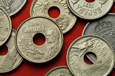 full of holes: Coins of Spain. King Juan Carlos I of Spain depicted in the Spanish 25 peseta coin (1993).