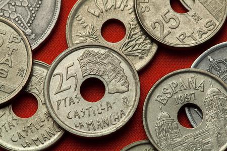 Coins of Spain. Casas Colgadas in Cuenca, Castilla-La Mancha, Spain depicted in the Spanish 25 peseta coin (1996). Stock Photo