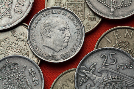 dictator: Coins of Spain. Spanish dictator Francisco Franco depicted in the Spanish five peseta coin (1957).