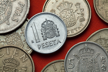 Coins of Spain. Coat of arms of Spain depicted in the Spanish one peseta coin (1989).