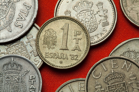 depicted: Coins of Spain. Coat of arms of Spain under the Spanish Transition depicted in the Spanish one peseta coin (1982).