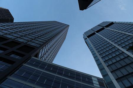 west germany: FRANKFURT AM MAIN, GERMANY - JUNE 14, 2015: Modern skyscrapers in the Bankenviertel (banking district) in Frankfurt am Main, Hesse, Germany.