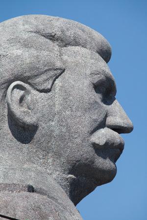 PRAGUE, CZECH REPUBLIC - MAY 20, 2016: Huge head of Soviet dictator Joseph Stalin rising over Letna Park in Prague, Czech Republic, during the filming the new movie Monster based on the biography of Czech sculptor Otakar Svec. Stalin returns temporary to