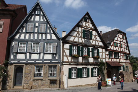 dramatist: MARBACH AM NECKAR, GERMANY - JUNE 11, 2015: People in front of the traditional half-timbered house where Friedrich Schiller was born in 1759 in Marbach am Neckar, Baden-Wurttemberg, Germany.