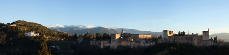 mirador: GRANADA, SPAIN - JANUARY 12, 2016: Panorama of the Alhambra Palace in Granada, Andalusia, Spain, pictured from the Mirador de San Nicolas in El Albayzin district. Editorial