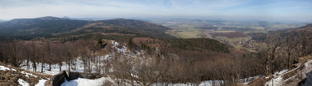 sudetes: Panoramic view of the Lusatian Mountains on the border between Germany and the Czech Republic pictured from the summit of Mount Lausche (793 m). Stock Photo