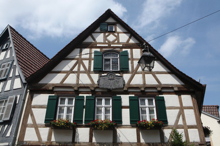 dramatist: MARBACH AM NECKAR, GERMANY - JUNE 11, 2015: Traditional half-timbered house where Friedrich Schiller was born in 1759 in Marbach am Neckar, Baden-Wurttemberg, Germany.