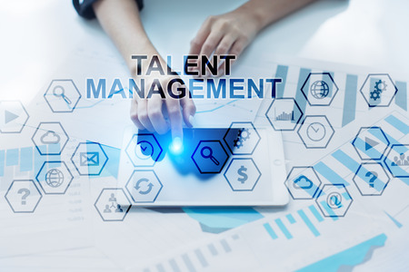 Talent Management concep. Womans hands using tablet pc. Stock Photo