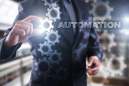 Businessman select automation on virtual screen.