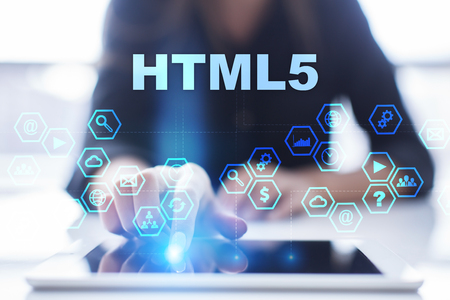 Woman is using tablet pc, pressing on virtual screen and selecting html5