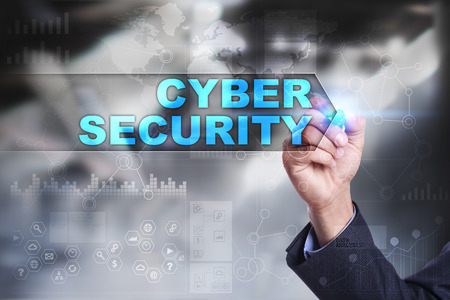 cyber defence: Business is drawing on virtual screen. cyber security concept. Stock Photo