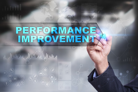 performance improvement: Business is drawing on virtual screen. performance improvement concept.