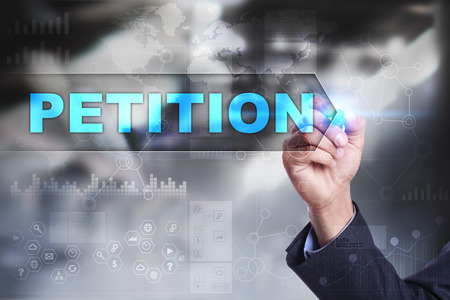 petitions: Business is drawing on virtual screen. petition concept.