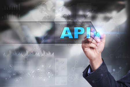 api: Business is drawing on virtual screen. api concept.