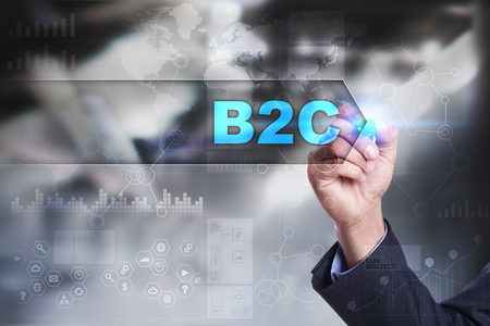 b2c: Business is drawing on virtual screen. b2c concept.