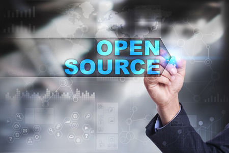 source: Business is drawing on virtual screen. open source concept. Stock Photo