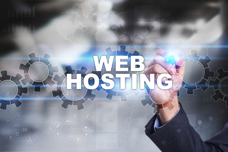 Businessman is drawing on virtual screen. web hosting concept.