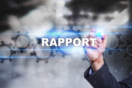 rapport: Businessman is drawing on virtual screen. rapport concept. Stock Photo