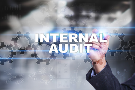internal audit: Businessman is drawing on virtual screen. internal audit concept.