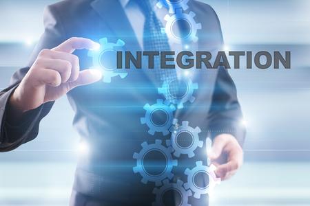 Businessman selecting integration on virtual screen. Stock Photo