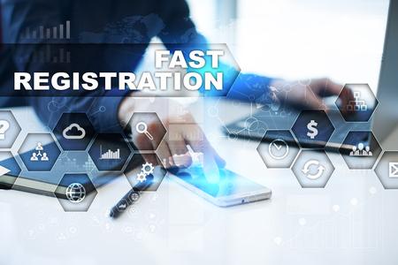 selecting: Businessman is working in office, pressing button on virtual screen and selecting fast registration
