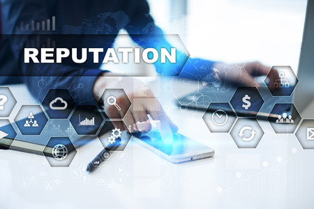 reputable: Businessman is working in office, pressing button on virtual screen and selecting reputation