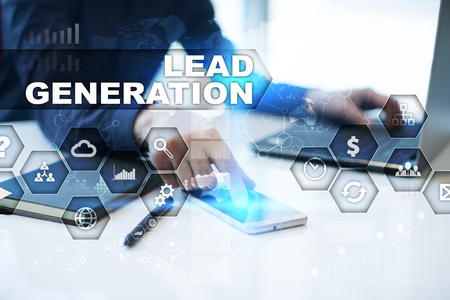 Businessman is working in office, pressing button on virtual screen and selecting lead generation