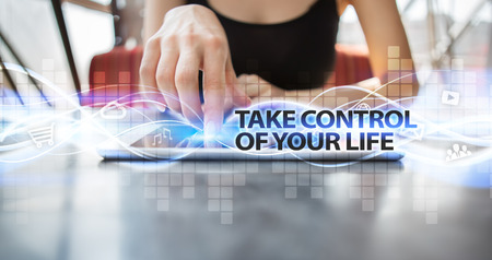 Woman using tablet pc and selecting take control of your life.