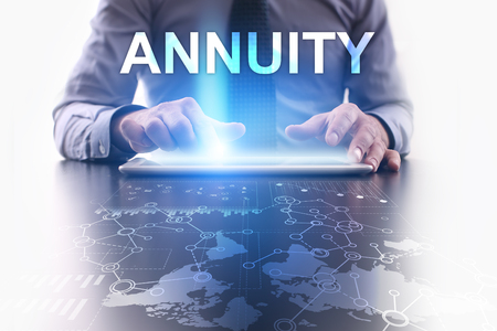variable: Businessman is using tablet pc and selecting annuity. Stock Photo