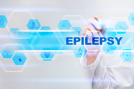 Medical doctor drawing epilepsy on the virtual screen. Imagens