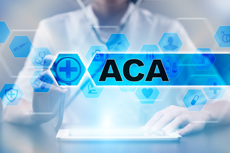 affordable: Medical doctor using tablet PC with aca medical concept.