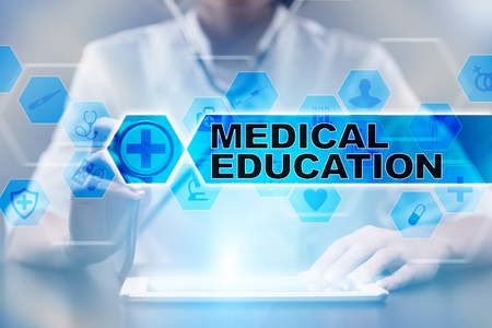 Medical doctor using tablet PC with medical education medical concept. Stock Photo