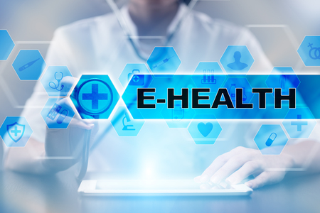Medical doctor using tablet PC with e-health medical concept.