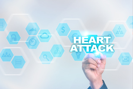 tablet pc in hand: Medical doctor drawing heart attack on the virtual screen. Stock Photo